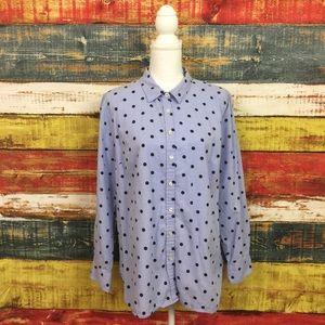 Talbots Polka Dot Button Down Shirt Size 1X